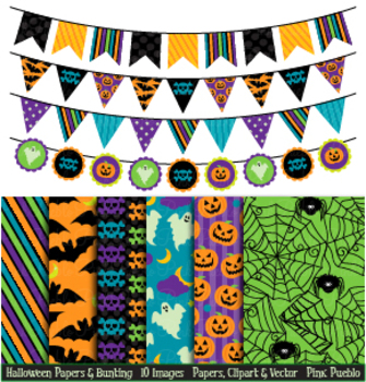 Halloween Digital Papers and Bunting Clipart