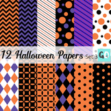Halloween Patterned Papers in Purple, Orange and Black