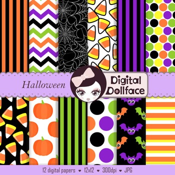 Halloween Digital Papers - spiderweb, candy corn, pumpkin patterns