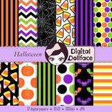 Halloween Digital Papers - spiderweb, candy corn, pumpkin