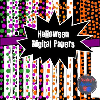 Halloween Digital Papers with Matching Frames