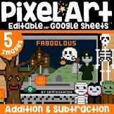 Magic Pixel Halloween Google Sheets Pixel Art ADDITION & S