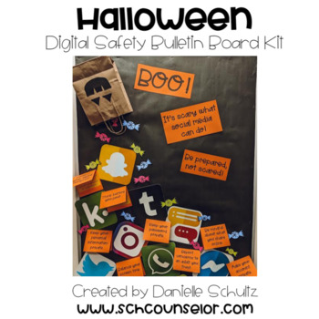 Halloween Digital Safety Bulletin Board Kit: Boo! Scary Social Media