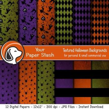 Halloween Digital Scrapbook Paper - Halloween Textured Backgrounds Spiders Witch