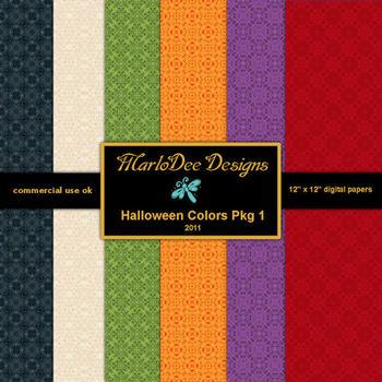 Halloween Digital Scrapbook Papers Pkg 1