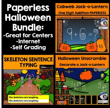 Halloween Digital Tasks Card BUNDLE - Paperless Classroom - BoomCards Centers