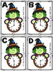 Halloween Analog Clock Time to the Hour and Half-Past Roam the Room Task Cards