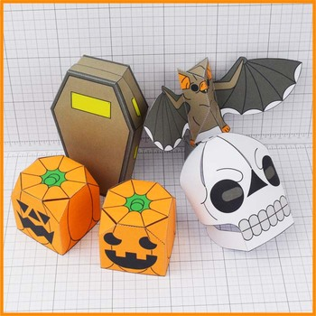 Halloween Display Paper Craft Decorations, 3D Bat's, Skulls, Pumpkins and More!