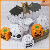 Halloween Display Paper Craft Decorations, 3D Bat's, Skull
