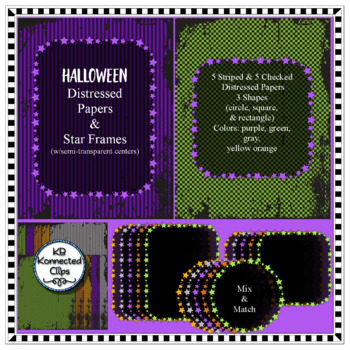 Halloween Distressed Papers with Star Frames Rectangle Circle Square