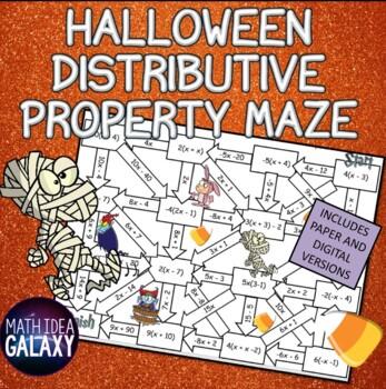 Halloween Distributive Property Maze Activity