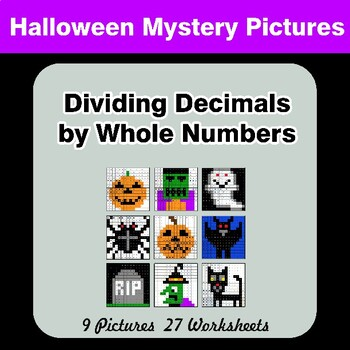 Halloween: Dividing Decimals by Whole Numbers - Math Mystery Pictures