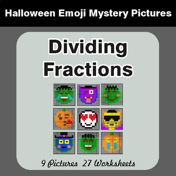 Halloween: Dividing Fractions - Color-By-Number Math Mystery Pictures