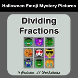 Halloween: Dividing Fractions - Color-By-Number Halloween Math Mystery Pictures