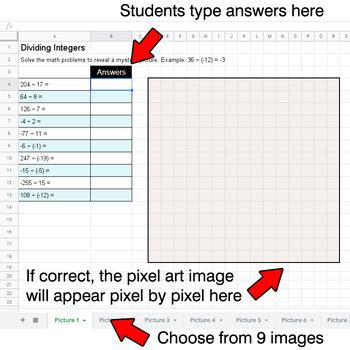 Halloween - Dividing Integers - Google Sheets Pixel Art