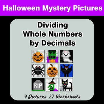 Halloween: Dividing Whole Numbers by Decimals - Math Mystery Pictures