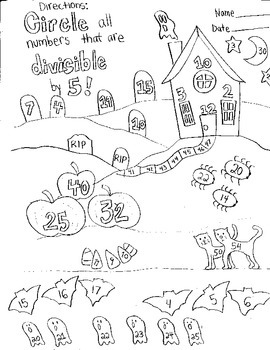 Halloween Divisible by 5 Worksheet