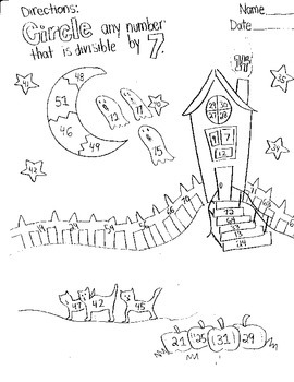 Halloween Divisible by 7 Worksheet