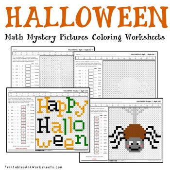 Halloween Division Worksheets, October Math Coloring Activity
