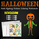 Halloween Division Worksheets, October Coloring Sheets Math Mystery Pictures