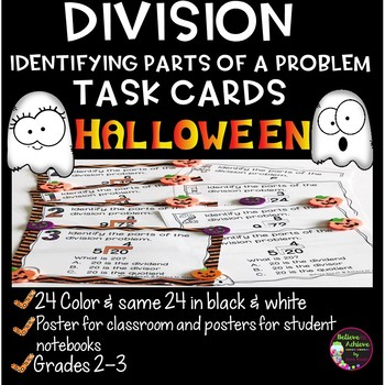 Halloween Division Task Cards (Parts of a Problem)