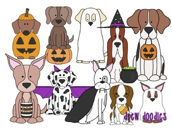 Halloween Dogs Digital Clip Art Set
