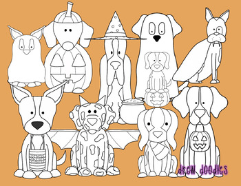 Halloween Dogs Digital Clip Art Set- Black Line Version