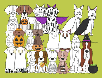 Halloween Dogs Digital Clip Art Set- Color and Black Line COMBO