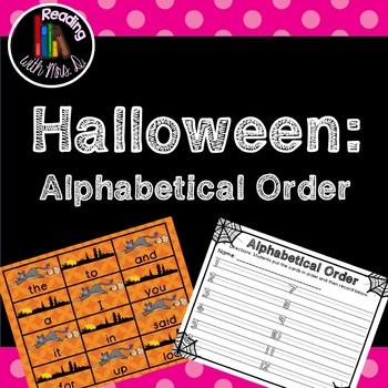 Halloween Dolch Alphabetical ABC order