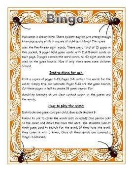 Halloween Dolch Pre-Primer preschool Word Bingo