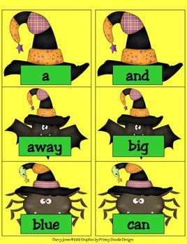 Halloween Dolch PrePrimer Word Cards