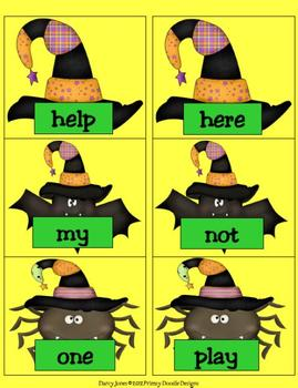 Halloween Dolch PrePrimer Word Cards