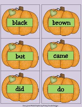 Halloween Dolch Primer Word Cards