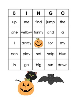 Halloween Dolch Sight Word Bingo Game