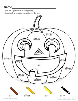 Halloween Dolch Sight Word Coloring Sheet