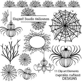Halloween Doodle Digital Clip Art Elements