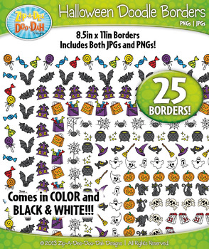 Halloween Doodle Frame Borders {Zip-A-Dee-Doo-Dah Designs}