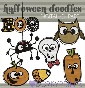 Halloween Doodles Digital Clip Art Images