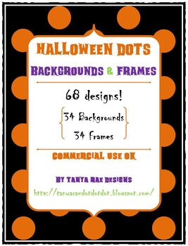 Halloween Dots: Backgrounds & Frames (Commercial Use OK)