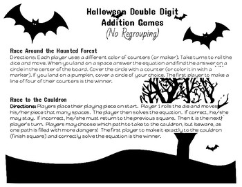 Halloween Double Digit Addition Games