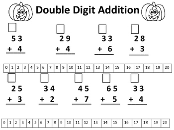 Halloween Double Digit Addition With and Without Regrouping