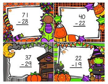 Halloween Double Digit Addition and Subtraction with Regrouping Task Cards
