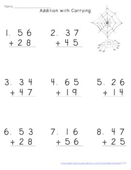 Halloween Double-Digit Addition with Carrying Worksheets