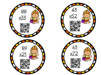 Halloween Double Digit Multiplication Task Card