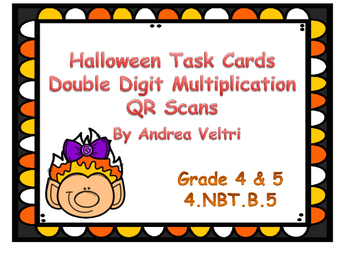Halloween Double Digit Multiplication Task Cards with QR Code