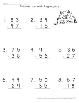 Halloween Double-Digit Subtraction with Regrouping Worksheets
