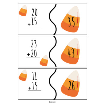 Halloween Double digit  addition puzzles