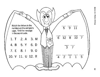 Halloween Dracula Secret Code Grades PK-1