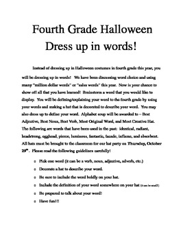 Halloween Dress Up in Words - Word Choice Activity