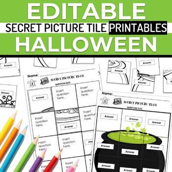 Halloween EDITABLE Secret Picture Tile Printables